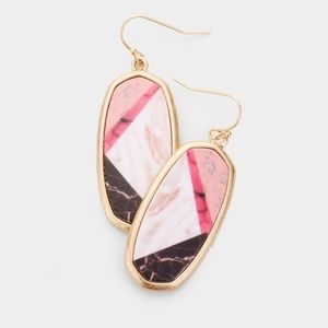 Pink and gold geometric earrings